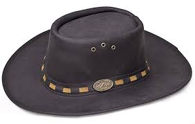 black leather rogue hat