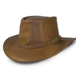 brown leather rogue hat